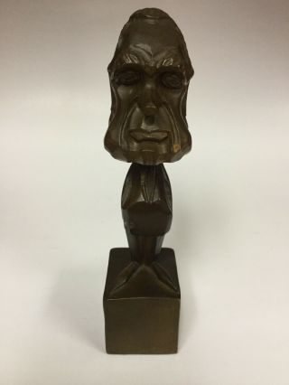 "President Richard Nixon Carved Wood Statue 10"" Vintage"