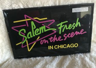 Salem Fresh On The Scene Cigarettes Tobacco Tin Advertising Sign Vintage.