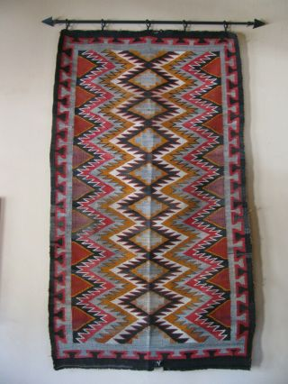 "Antique Navajo Rug Blanket Native American Tight Textile Weaving 70 "" X 40 """