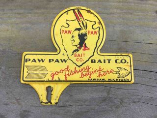 Old Paw Paw Bait Company Fishing Lures Michigan Advertising License Plate Topper