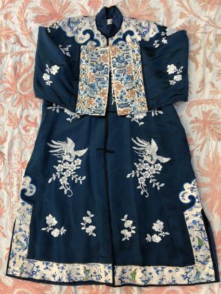 Antique Chinese Blue Silk Robe Forbidden Stitch Embroidery Figural Gold Couching