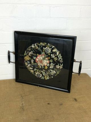 Antique 19th Century Chinese Silk Embroidery Floral Butterfly Tray Frame