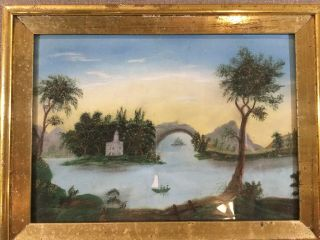 2 Real 19thc Antique 1840s American Folk Art Pastel Painting Water Gilt Frame