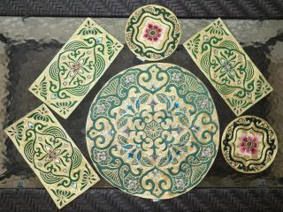 6 Antique Chinese Silk Embroidered Textile Panels