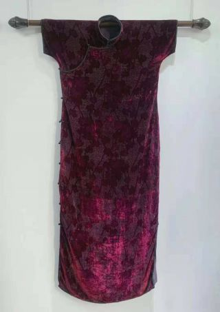 Antique Vintage Chinese Qipao Cheongsam Purple Velvet Silver Thread Maple