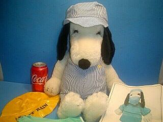 Vintage 20  Stuffed Snoopy Doll With Railroad Costume & Doctors Outfit