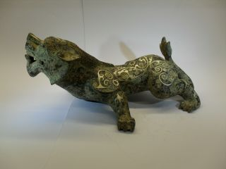 Large Chinese Bronze Figure Of A Kylin Inlaid With Silver,  8 Character Mark.