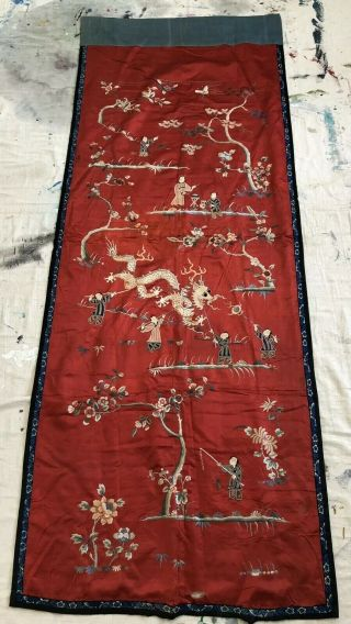 Antique Chinese Festival Ceremonial Hanging Figural Dragons Silk Embroidery Qing