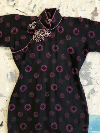 Vintage 1920s 30s Black & Purple Silk Damask Cheongsam Qipao Pankou Closure Vtg