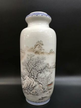Chinese Porcelain Famille Rose Vase With Snow Scene