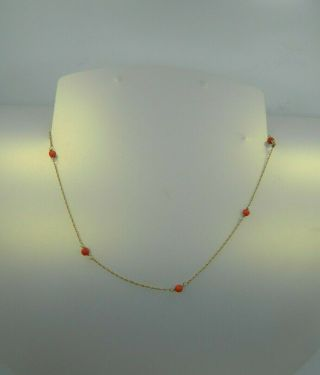 """Exquisite Vintage 14k Yellow Gold Red Coral Beaded 14 1/4 """" Twisted Rope Necklace"""