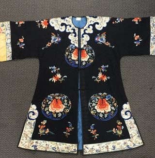 Antique Chinese Qing Black Silk Embroidered Robe