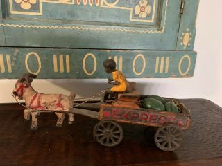 Antique Vintage Cast Iron ? Express Goat Cart With Boy And Watermelon