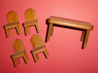 Vintage Dollhouse Wood Dining Set Table And Chairs