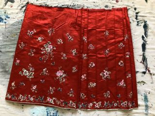 Antique 1920s 30s Chinese Embroidered Red Silk Skirt Wedding Floral Butterflies