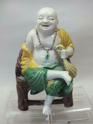 A Good Chinese Porcelain Figure Of A Seated Man 19thc