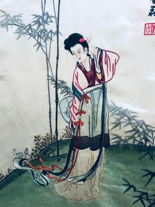 Antique Chinese Silk Embroidery Textile Panel Magu In Garden