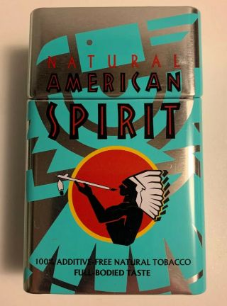 American Spirit Limited Edition Blue Tin Empty Filp Top Tin
