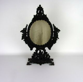 Vintage French Stand Table Mirror Iron Art Romeo And Juliet