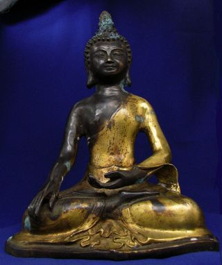 Antique Chinese Tibetan Gilt Bronze Buddha 19th Century