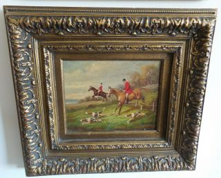 Vintage Oil Painting Framed And Signed Hunting Scene Two Horses