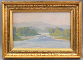 Small Antique Will Hutchins American Impressionist River Landscape Oil Painting