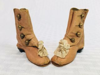 Antique Bon Pareil Mark French Fashion Doll Boots Leather Silk Rose Shoes Heels