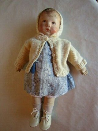 "Antique 14 "" Kathe Kruse Germany Cloth Doll C.  1930? Model 1?"