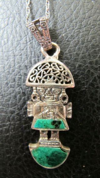 A Vintage Silver & Jade Pendant Of A Man That Was Bought In Peru In The 1980