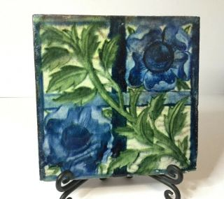 "William De Morgan Tile ""blue Rose Trellis"" Arts & Crafts,  Poole"