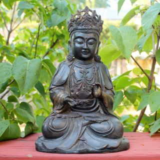 Antique Chinese Bronze Gilt Buddha Statue Ming Dynasty Style Figure