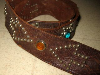 Jeweled Retro Vintage / Antique Native American Belt And Buckle W/ Good Luck