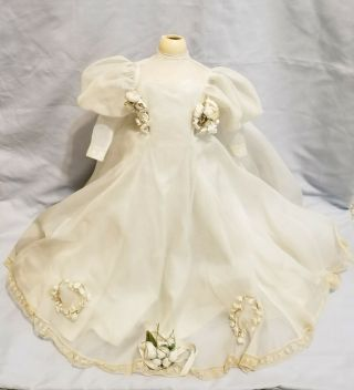 "Antique Vintage Mme Alexander 21 "" Composition Bride Tagged Wedding Dress No Doll"