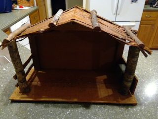 "Vintage 18 "" Christmas Wood Stable/ Creche Only Music Silent Night Made In Japan"
