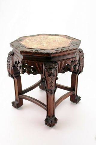 Chinese Carved Rosewood Occasion Table Marble Top Plant Stand 18.  89 Inch E/0105