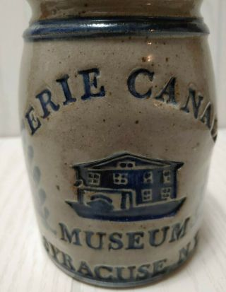 Vintage Erie Canal Museum Syracuse Ny Stoneware Signed Pot