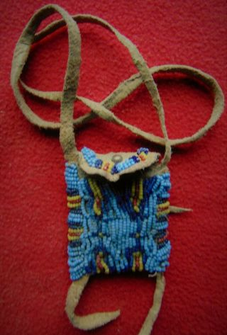 Antique Native American Arapaho Medicine Necklace Bag From Ranch Estate