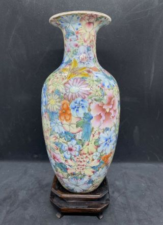 A Fine Antique Chinese Famille Rose Hundred Flowers Vase 19th C