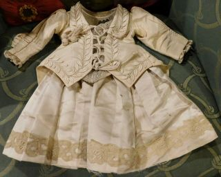 32 Antique French Silk Couture Frock For Antique Bisque Bebe Doll From Schmitt