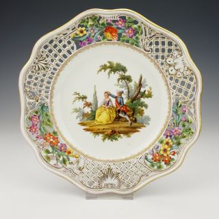 Antique Dresden Porcelain - Hand Painted Courting Couple Plate - Pierced Borders