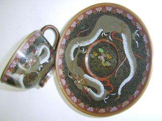 Fine Quality Antique Chinese Cloisonne Tea Cup And Saucer Dragon No Vase