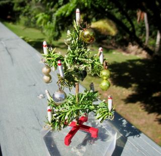 Miniature Antique Germany German Dollhouse Feather Christmas Tree 4in Tall