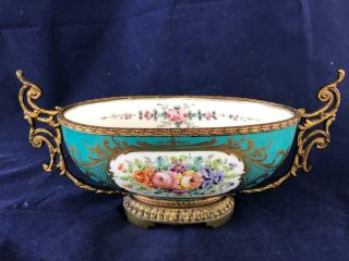 Fine Antique French Sevres Ormulo Mounted Porcelain Hand Painted Bowl