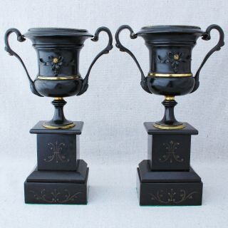 Antique 19 C French Ormolu Black Patinated Bronze Slate Mantle Urns Bookends 11""