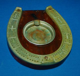 A Lovely Horseshoe Shaped Cribbage Board With Central Dish,  Antique,  Victorian