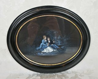 Antique Oval Victorian Oil Painting On Cloth Of Romantic Couple Man And Woman