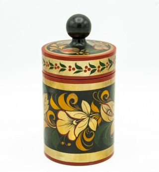 Vintage Khokhloma Russian Lacquer Wood Hand Painted Container Canister W/ Lid