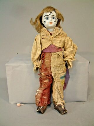 """14.  5 """" Antique French Bisque Head Eden Bebe Clown Doll Rare Great Face $1nr Wow"""