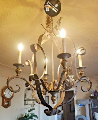Currey And Company French Antique Style Rustic Chandelier 2002 9737