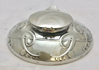 Extremely Rare Liberty & Co Tudric Pewter Ink Well & Liner Archibald Knox 0521